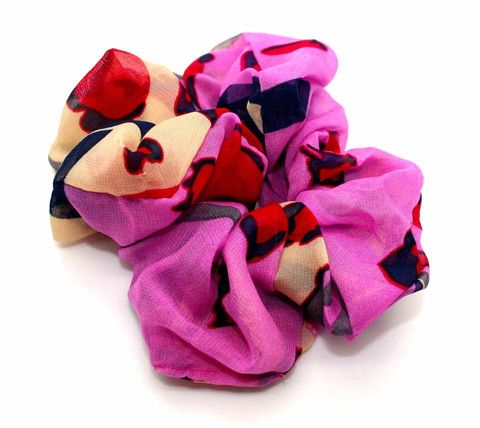 Large Colourful Animal Print Chiffon Scrunchie Pink-Tegen Accessories-Tegen Accessories  - 1