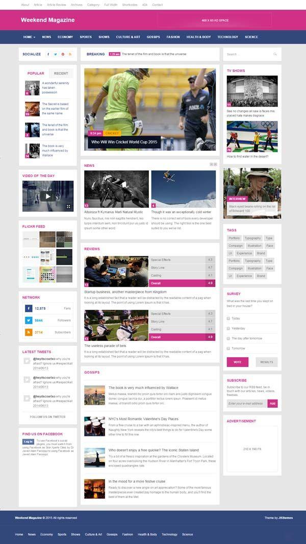 Weekend - Magazine \ Blog HTML Responsive Template #html5templates - resume html template