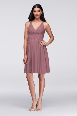 308845ae8ce This short mesh bridesmaid dress is a flattering option thanks to the  fitted bodice