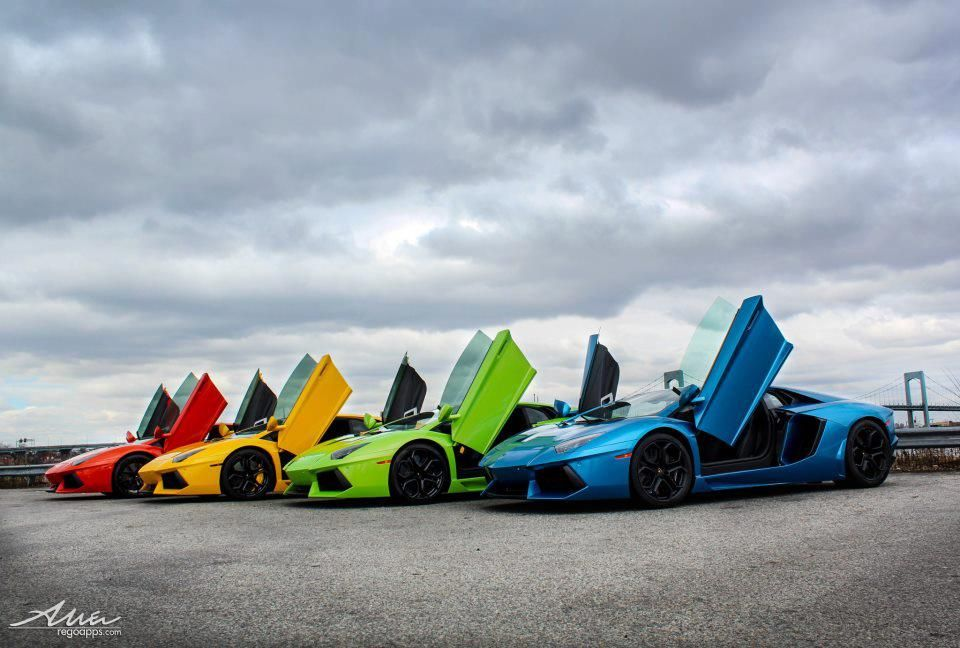 Taste The Rainbow Of Lamborghini Blue Green Yellow Red