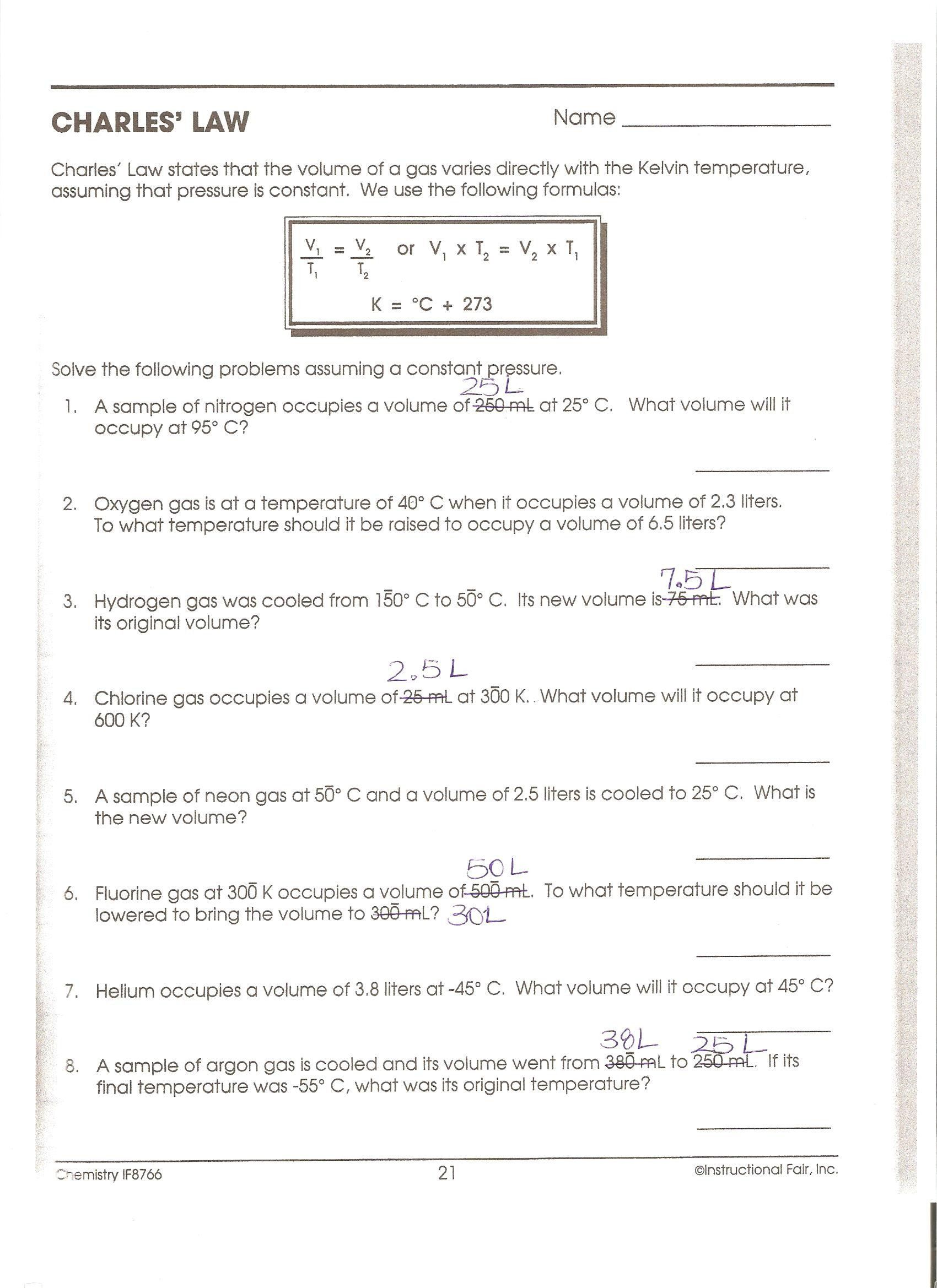 Boyle S Law Worksheet Answers Homework Unit 6