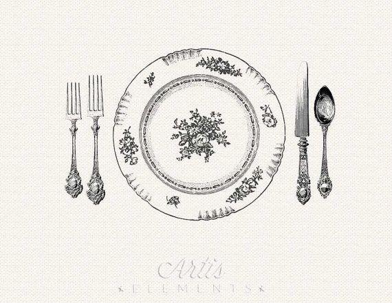 Elegant Dinner Setting Printable Placemat Vintage Digital Clipart ...