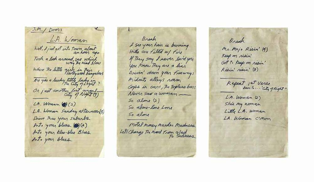 L A Woman Song | ... lyrics in Jim Morrison's hand for the Doors song