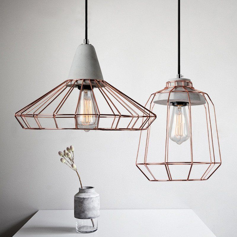 Sangkar Rose Copper Gold Cage Pendant Light With Concrete Base Cage Pendant Light Pendant Light Cage Pendant