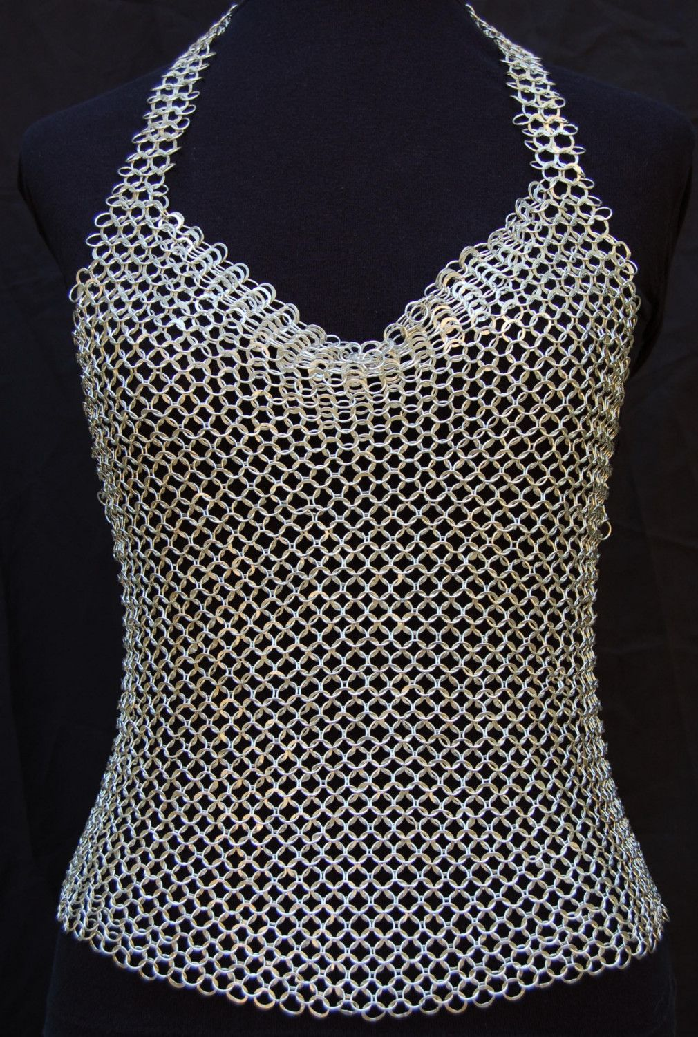 Sterling chainmail halter top by bethcyr on etsy chainmail chainmail shirt bankloansurffo Image collections