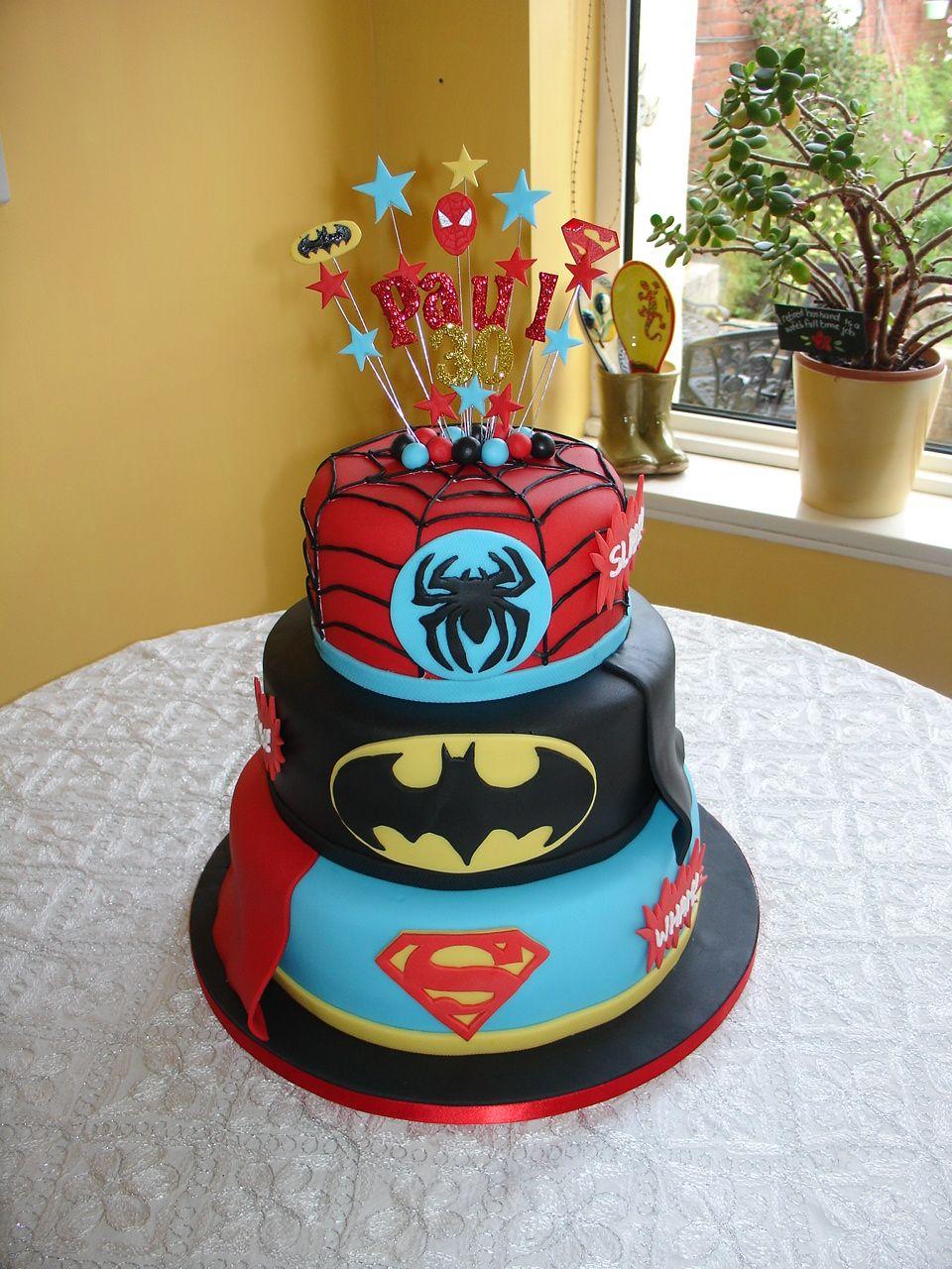 Superheroes 30th Bday Fondant Cake One of the better multisuperhero