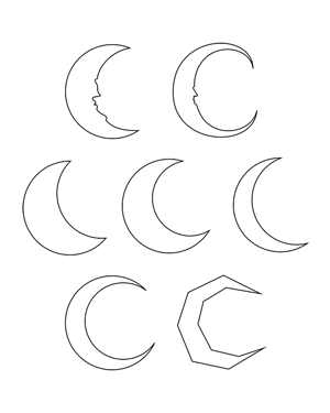 Crescent Moon Outline Patterns: DFX, EPS, PDF, PNG, and SVG Files