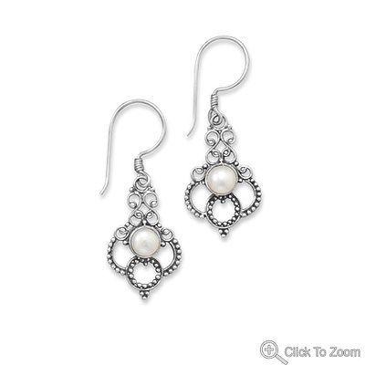 *NEW* Cultured Freshwater Pearl Scroll Design Earrings