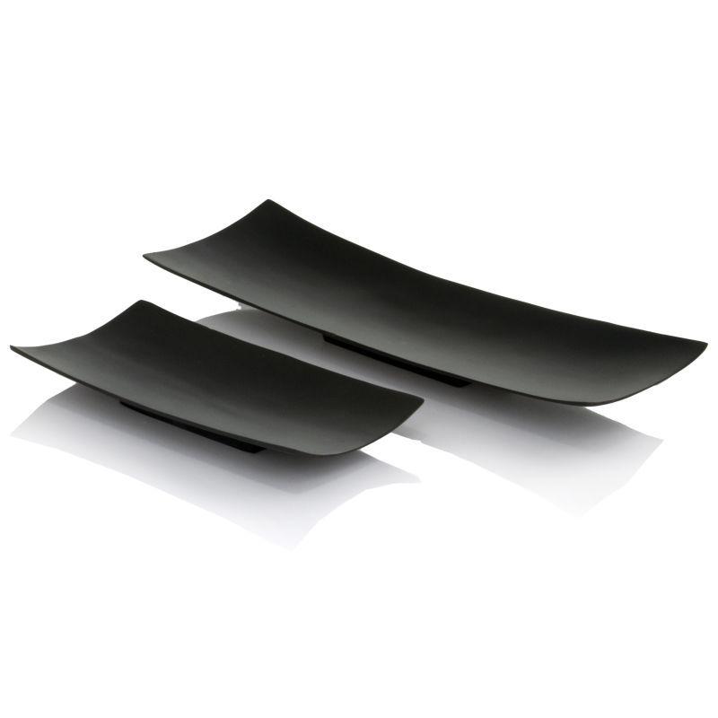 Black Decorative Tray Extraordinary Modern Day Accents 8314 Larga Black Trays  Set Of 2 Black Home Design Inspiration