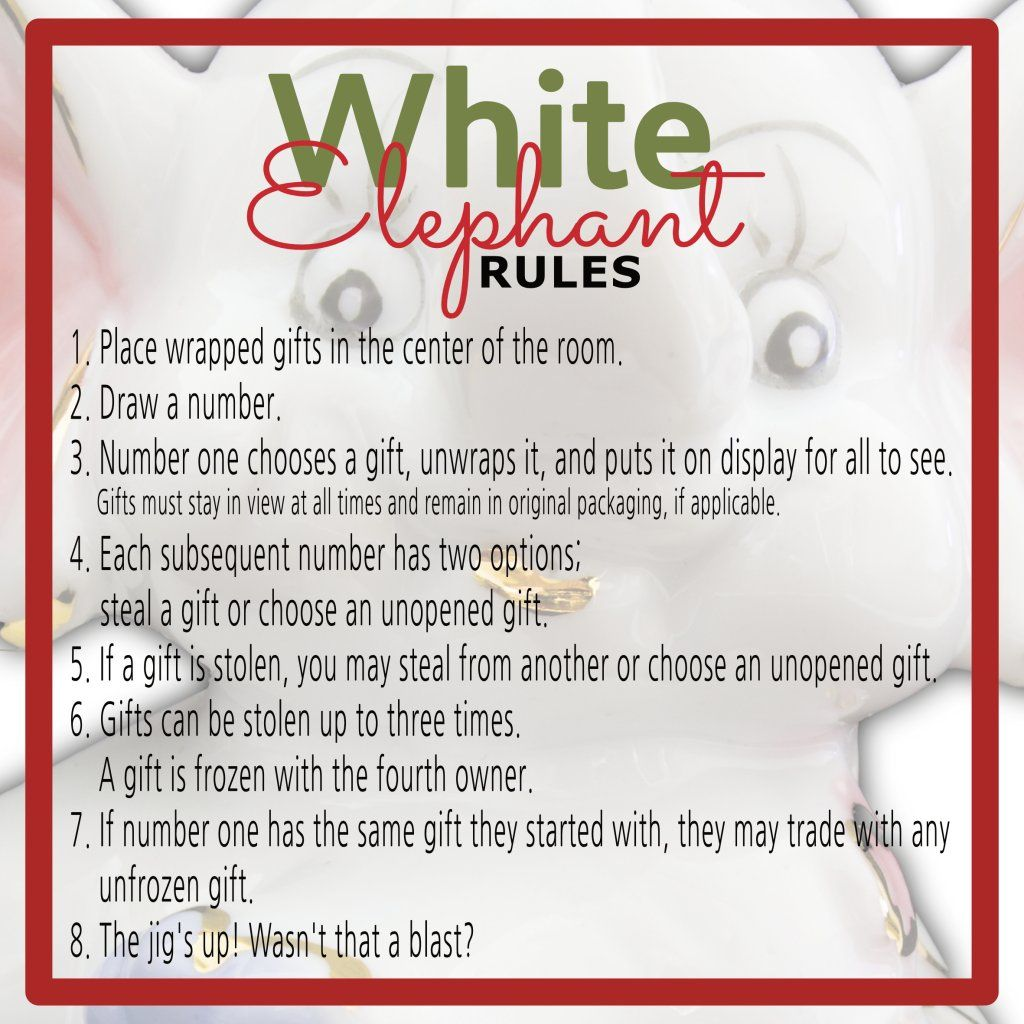 White Elephant Gift Exchange Rules and Printables | White ...