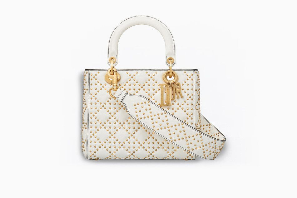 5ba58f18874e SUPPLE LADY DIOR BAG IN OFF-WHITE STUDDED CALFSKIN - Lady Dior Dior ...