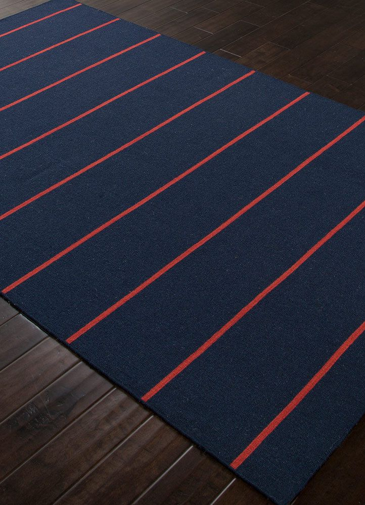 Cape Cod Navy Blue And Red Striped Rug Nautical Decorating