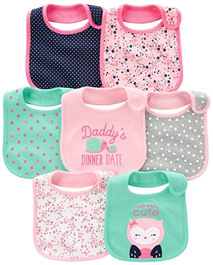 4efa5d0b1 Simple Joys by Carter's Baby Girls' 7-Pack Teething Bib, Pink/Mint, One Size