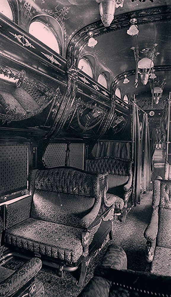 Photo of Interior of rococo period Pullman car. late 1800s