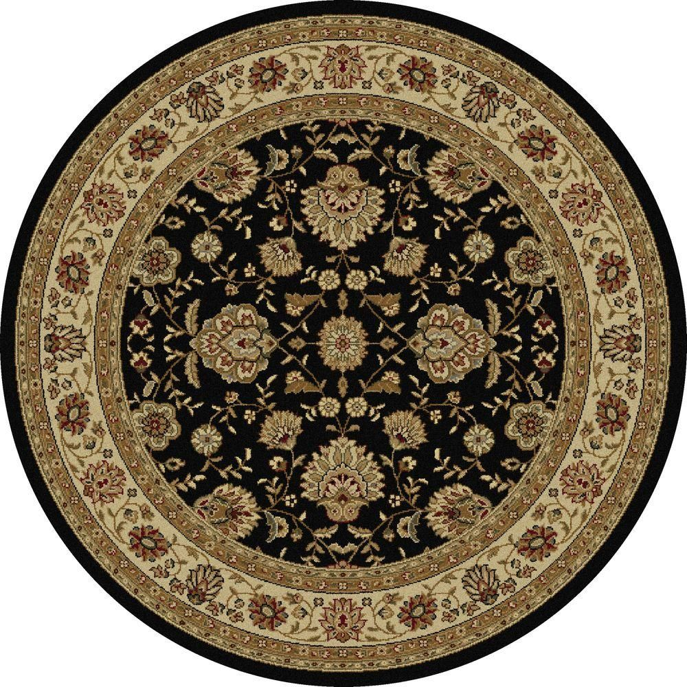 Tayse Rugs Elegance Black 8 Ft X 8 Ft Round Indoor Area Rug 5143 Black 8 Round Products Rugs Area Rugs Traditional Area Rugs