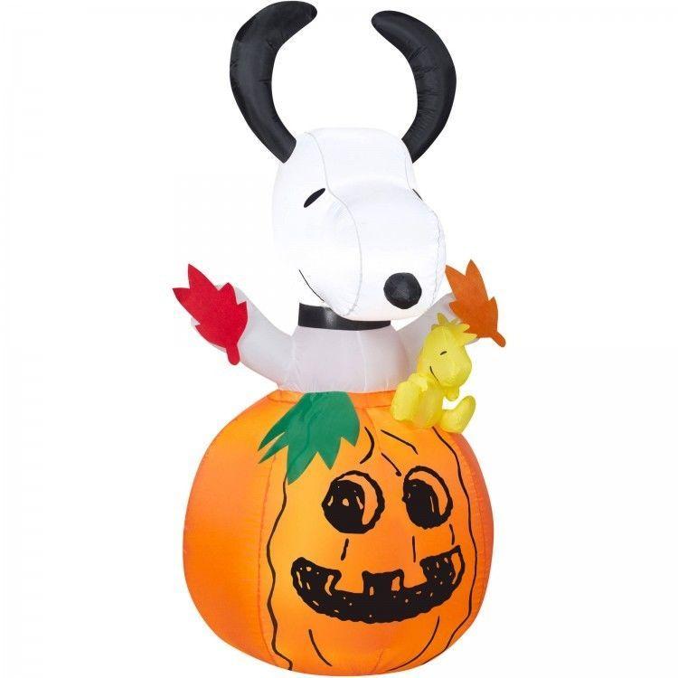 Outdoor Halloween Decoration Inflatable Pumpkin Snoopy Woodstock - halloween lighted decorations