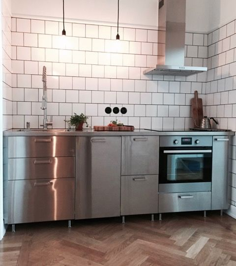 edelstahlarbeitsplatte industriestil ikea metod grevsta k che pinterest kitchens. Black Bedroom Furniture Sets. Home Design Ideas