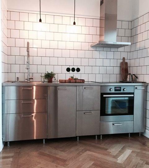 Edelstahlarbeitsplatte, Industriestil, Ikea Metod Grevsta - küche mit edelstahl arbeitsplatte