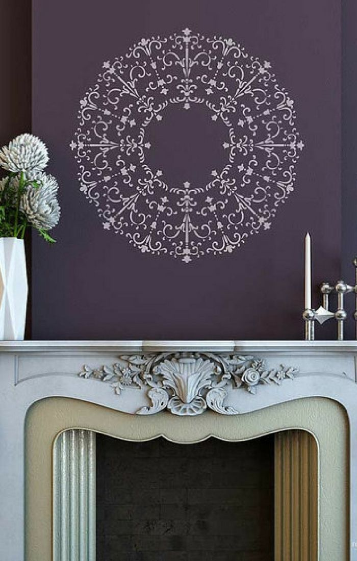 Large Circle Medallion Stencil For Painting A Custom Ceiling Design