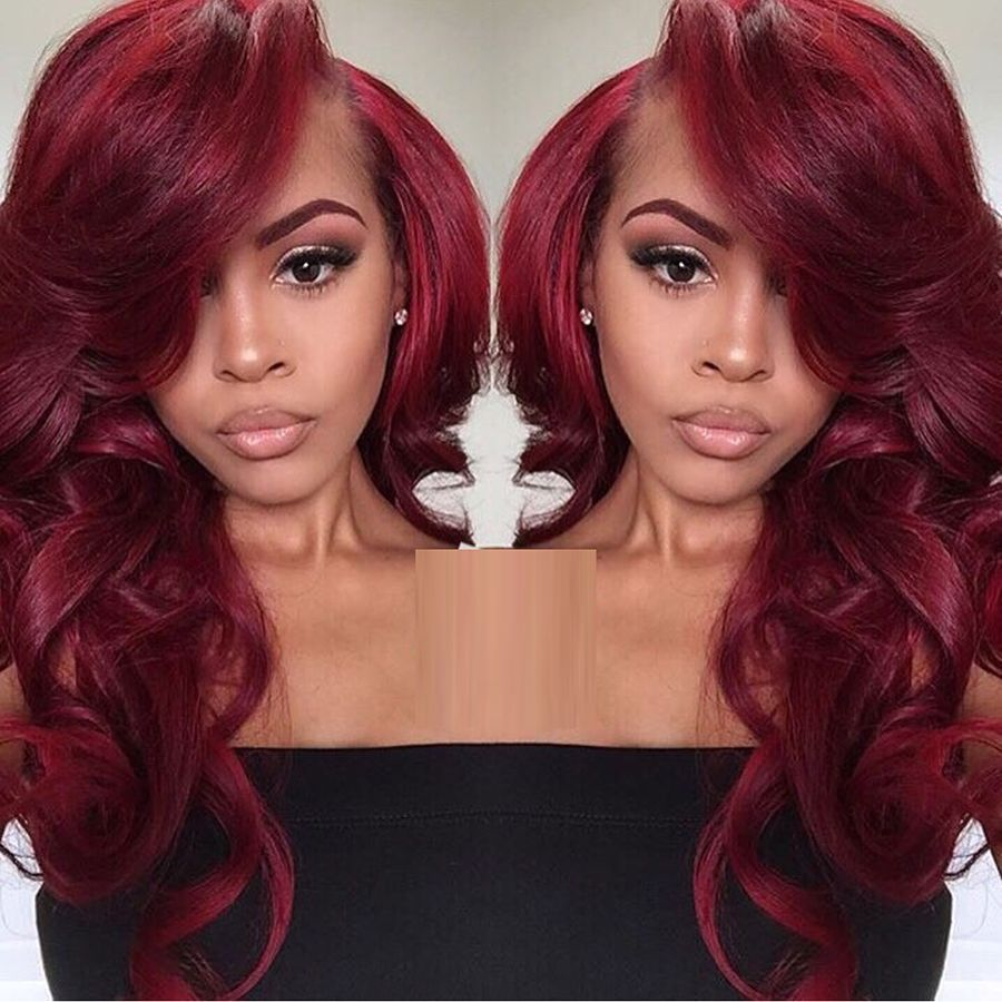 Wig Card Picture More Detailed Picture About Wine Red With Bright Red Highlights Synthetic Lace Front Wig Body Wave Glueless H Hair Styles Burgundy Hair Hair
