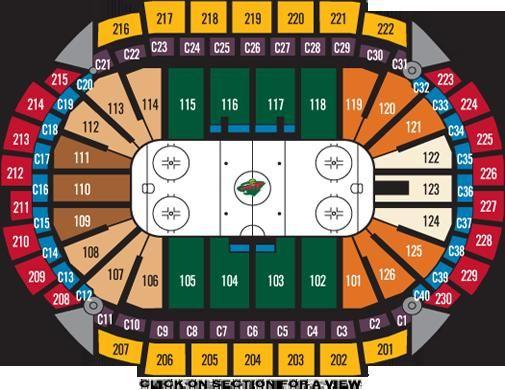 Xcel energy center hockey seating chart minnesota wild