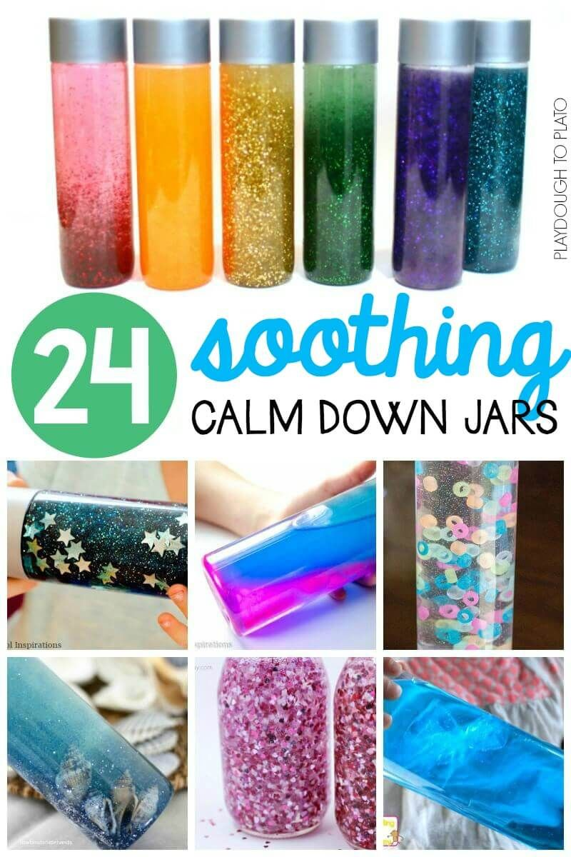 24 Soothing Calm Down Jars Playdough To Plato Calm Down Jar Calm Down Bottle Calming Jar