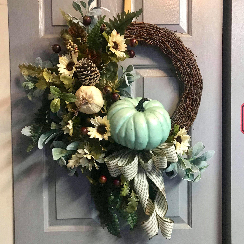 Photo of Front door wreath, autumn wreath, peasant wreath, rustic wreath, grapevine wreath, pumpkin wreath, autumn wreath, sunflower wreath