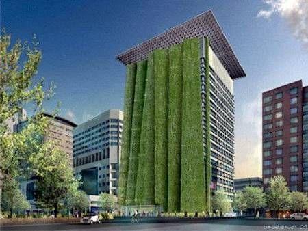 Giant Green Facade Part Of Green Rehab Of Portland Office Building Green Architecture Green Facade Green Roof Garden