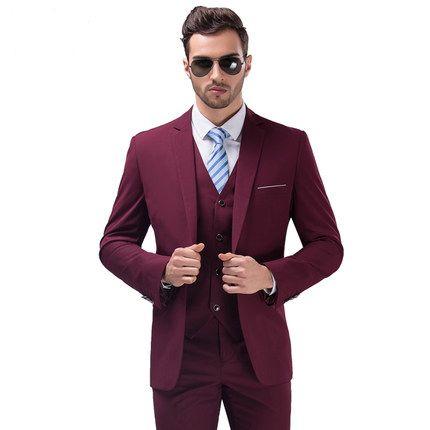 Encontrar Más Trajes Información acerca de Moda para hombre traje de boda  del novio se casó con Wine Red Formal trajes delgados establecen hombres de  tres ... 64f2bf0ab9d