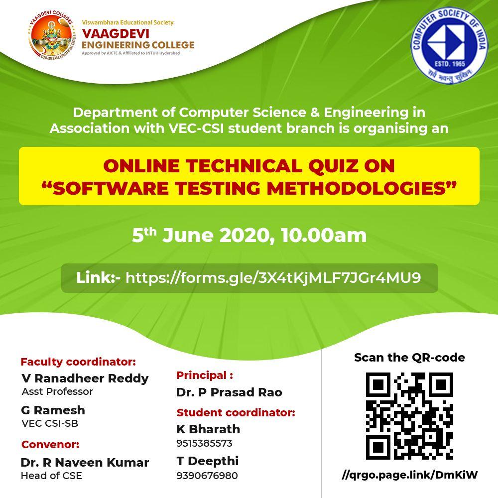 Online Technical Quiz On Software Testing Methodologies In 2020 Computer Science Engineering Engineering Colleges Software Testing