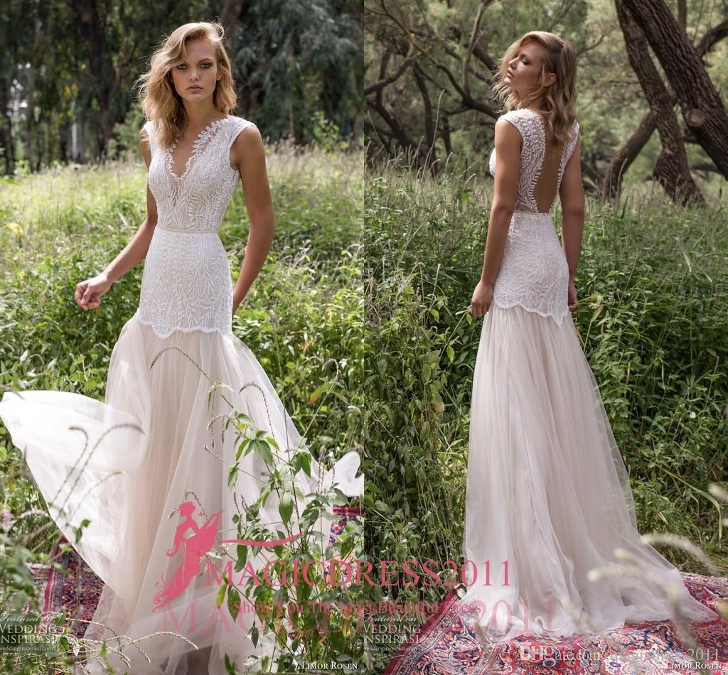 Limor Rosen 2017 Mermaid Wedding Dresses Illusion Bodice Jewel Cap ...