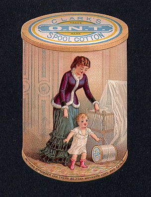 thread Advertising Trade card die cut with baby and Mother