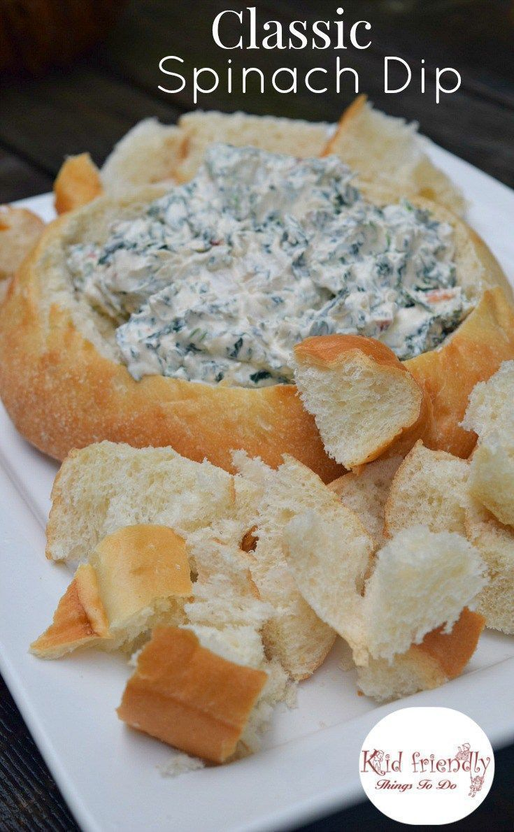 Classic And Easy Spinach Dip In A Bread Bowl Recipe Recipe Holiday Appetizers Easy Bowl Recipes Easy Bread Bowl Recipe