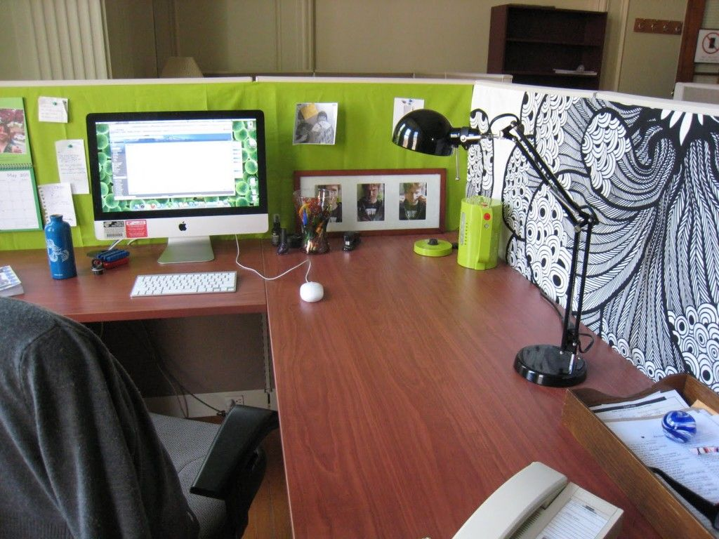 cubicle decoration office ideas: green stylish cubicle