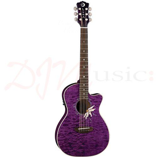 Luna Flora Passionflower Acoustic Guitar - Intricately beautiful and sweetly scented, the passionflower has long been valued for both its arresting appearance and its healing qualities. Its calming and soothing abilities, documented for hundreds of years, were well known by indigenous cultures. Flowers span three to four inches in myriad variations of white, pink, red and purple.