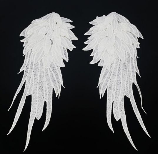 1pair black white embroidered angel wings lace fabric shoulder venise lace sewing applique diy halloween costume - Halloween Costumes Angel Wings