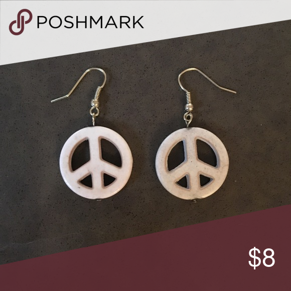 Stone Peace Sign Earrings In A Sandy Color Soft Gold Colored