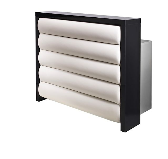 Adore Salon Reception Desk With Upholstered Rolled Front Panel Salonfurniture Co