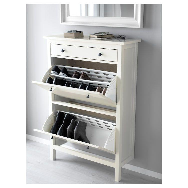Hemnes Armoire A Chaussures 2 Casiers Blanc 89 Cm 30 Cm 127 Cm 12 Cm En 2020 Placard Chaussure Ikea Hemnes Hemnes