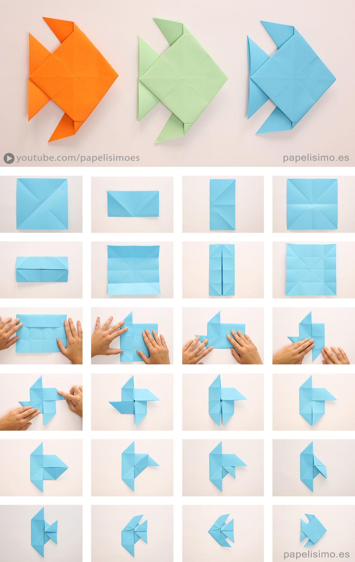 Pez de papel papiroflexia origami paper fish pinteres - Papiroflexia paso a paso ...