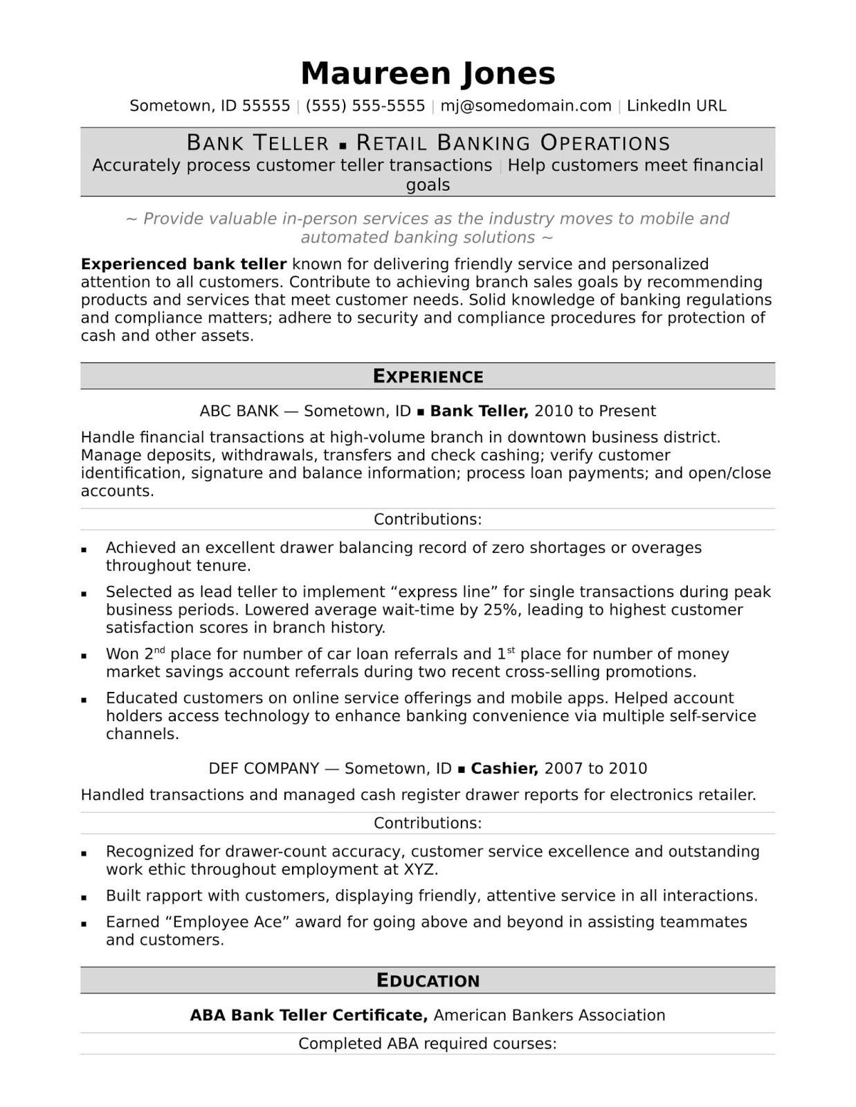 37++ Resume for bank job with experience inspirations