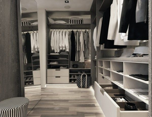 A modern art deco home visualized in two styles closet