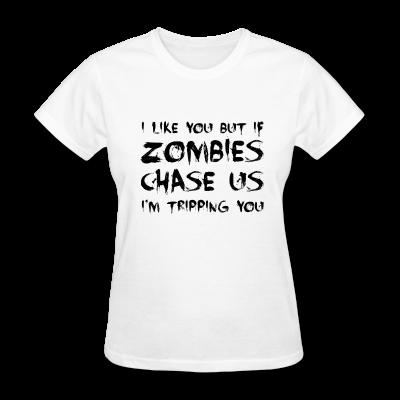 Zombies Chase Us - Women's T-Shirt #djbdesign #tshirt #shirt #tee #design #apparel #walker #walkers #zombie #zombies #walkingdead #daryl #sunday #amc #twd #daryldixon #rickgrimes