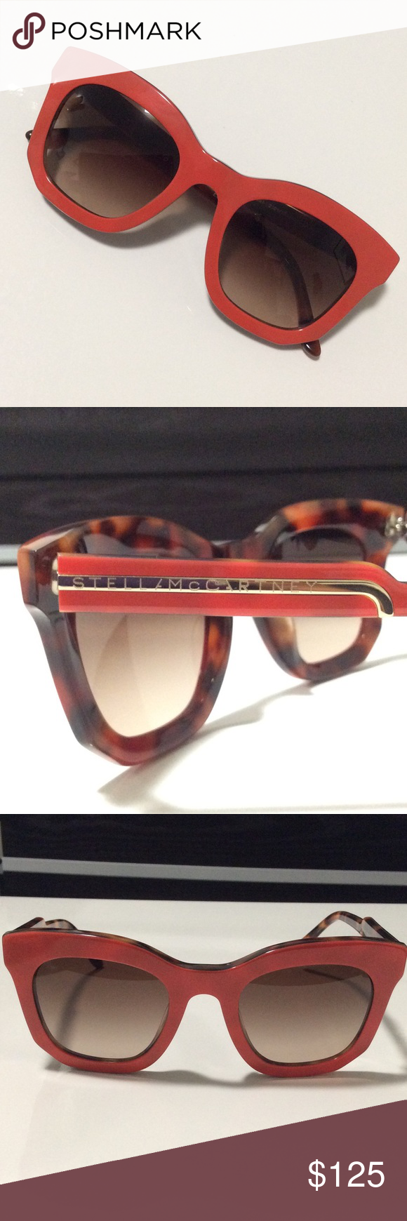cd880a929ec Stella McCartney Sunglasses Oversized square Stella McCartney sunglasses in  orange and tortoise with notched arm detail. NEVER BEEN WORN!