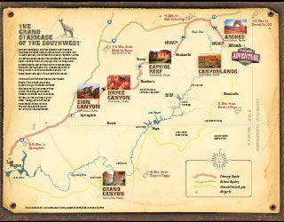 The Mighty Five Utah Map.Grand Staircase Map Road Trip To Utah Mighty Five And The Grand