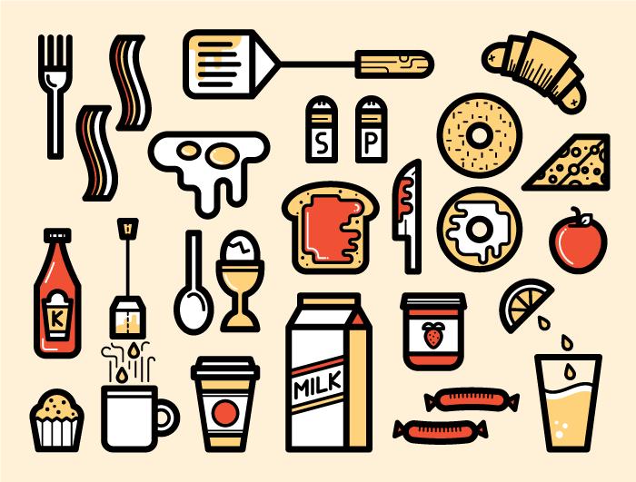 Breakfast Icons Graphic Design Logo Graphic Design Typography Illustration Design