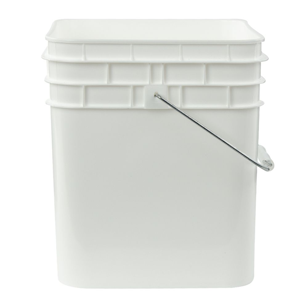 3 1 2 Gallon White Hdpe Square Bucket Lid Sold Separately U S Plastic Corp Plastic Buckets Housekeeping Gallon