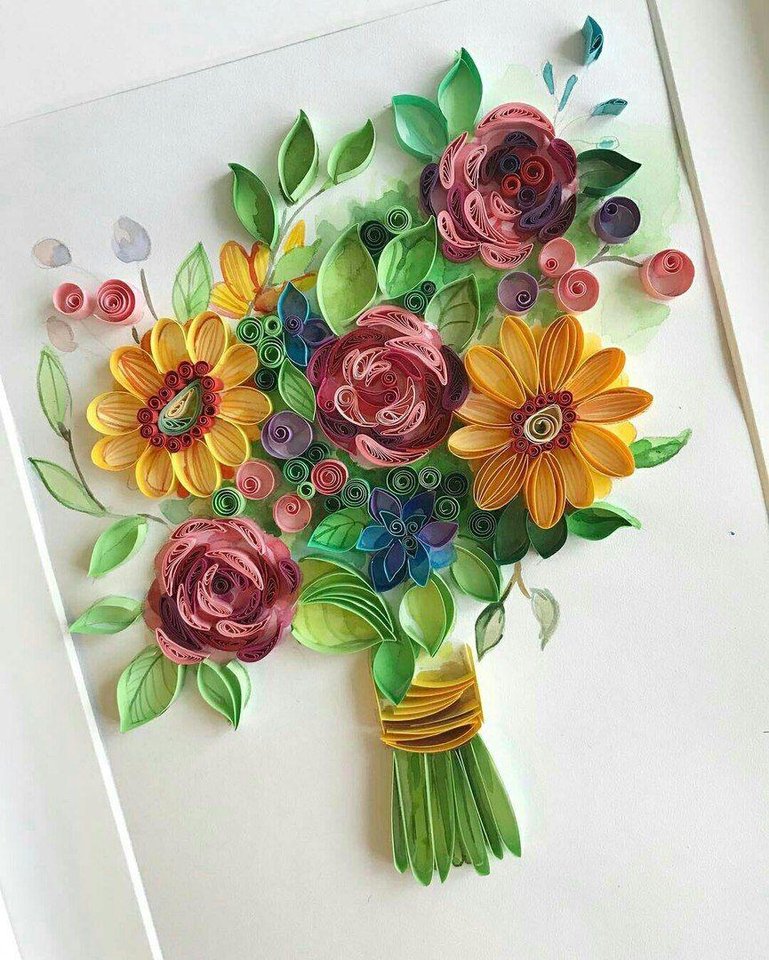 Дай, картинки с цветами из квиллинга