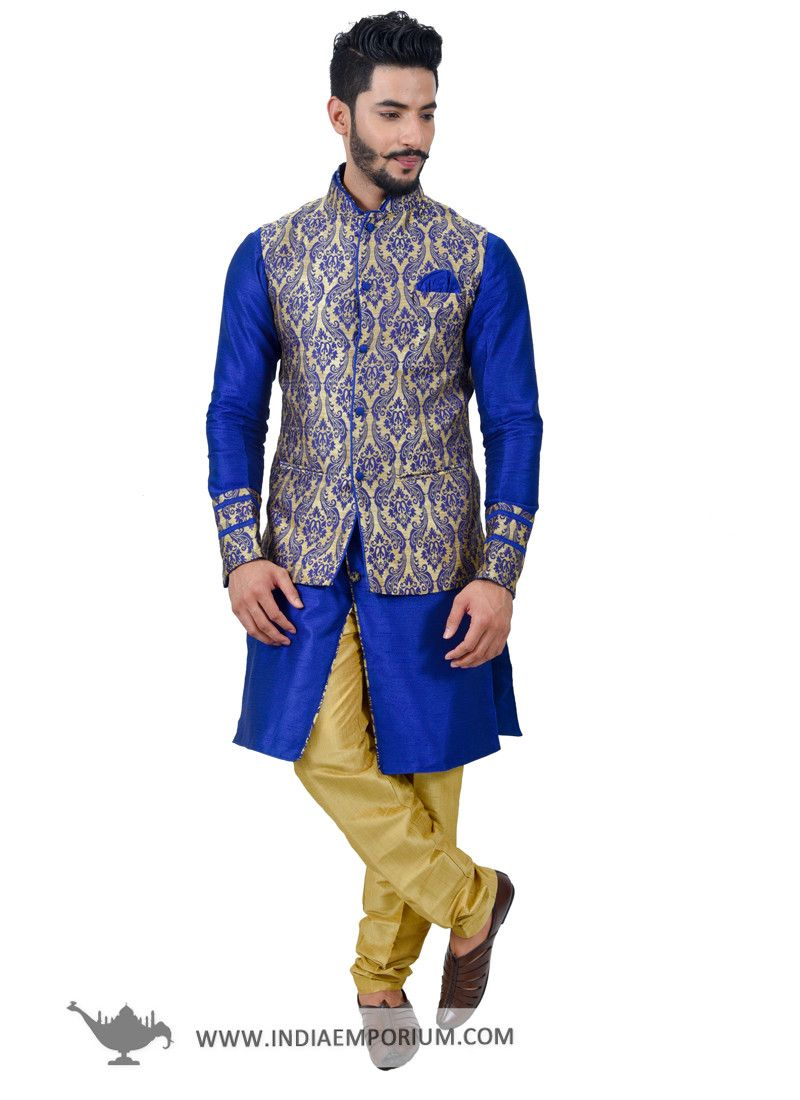 Marvelous Royal Blue    Golden  Kurta  Pyjama with  Nehru  Jacket ... 694b0fb48