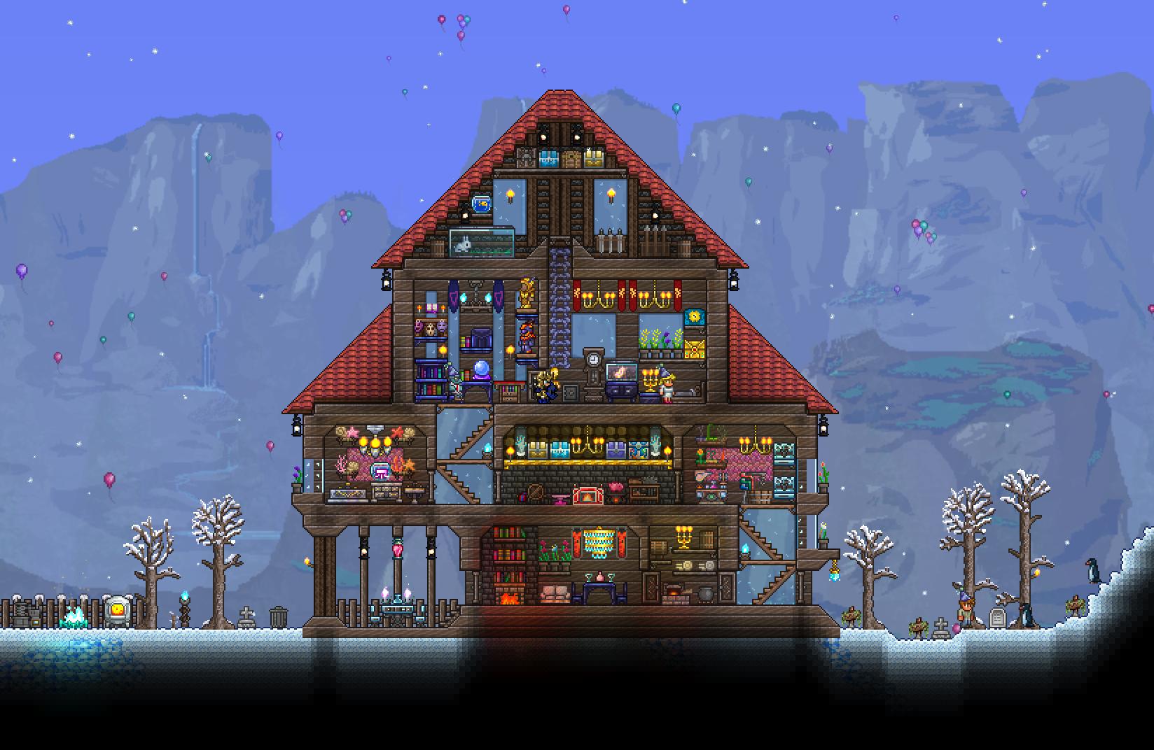 Terraria Christmas House.Porch House I Made A While Ago Terraria Terraria House